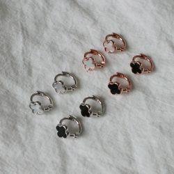 크로버 자개 오닉스 원터치 미니 링귀걸이 (4color)