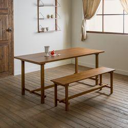 장미맨숀 로사 원목 1800 테이블 식탁세트01 (벤치1개)