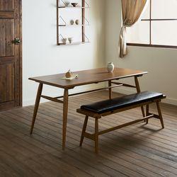 장미맨숀 메이 원목 1600 테이블 식탁세트01 (벤치1개)