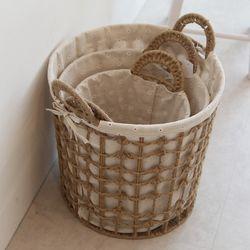 로프 라탄 빨래바구니 (중형) 커버 세탁 바구니