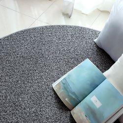 허밍 더스트 샤기 단모 블랙 사계절 카페트 거실 러그 150cm(원형)