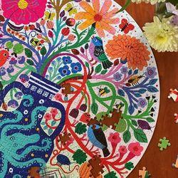 새와 꽃들 500피스 라운드 퍼즐