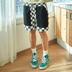 RON CHECKER SHORTS PANTS (BLACK)(ITEM73RUXHS)