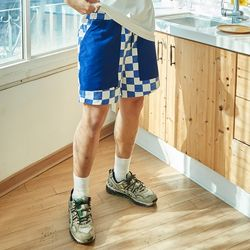 RON CHECKER SHORTS PANTS (BLUE)(ITEMEKOMI5G)