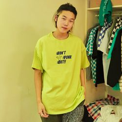 PUNK OUT SHORT SLEEVE T-SHIRTS (YELLOWGREEN)(ITEMBO12EO2)