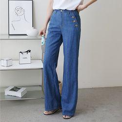 Linen Button Wide Jeans