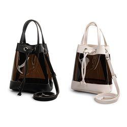 블랙 PVC 여성 핸드 숄더 스트랩 버킷백