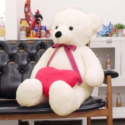 아이보리1m 30cm  대형 큰곰인형 + 하트쿠션