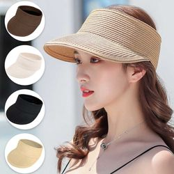 라피아 썬캡 여름 모자 여성 여자 자외선차단 돌돌이