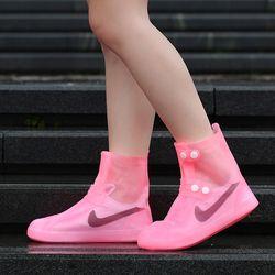 실리콘 신발방수커버 레인부츠 레인슈즈 (핑크색상)