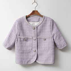Pastel Tweed Jacket - 반팔