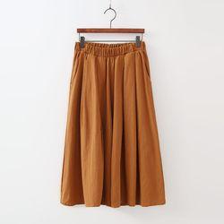 Summer Linen Banding Wide Pants - 치마바지