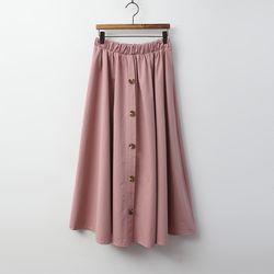 N Button Cotton Full Long Skirt