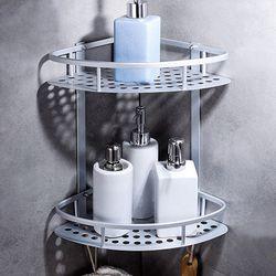화장실 욕실코너선반 2단 철제 욕실선반 정리대