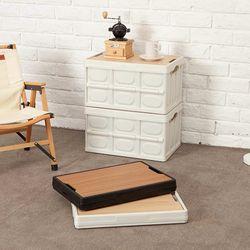 캠핑폴딩박스 밀크 우드상판 수납 테이블 감성 차박 용품