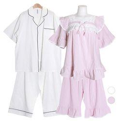 [쿠비카]어깨프릴 A라인 소매 투피스 커플잠옷 WM325