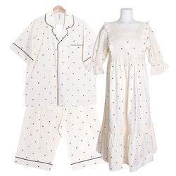 [쿠비카]러블리 쿠앤크 면 원피스 커플잠옷 WM322