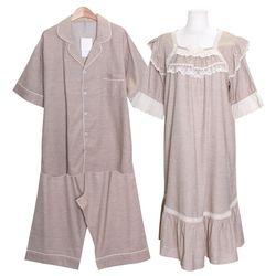 [쿠비카]프리미엄 소매 레이스 원피스 커플잠옷 WM331