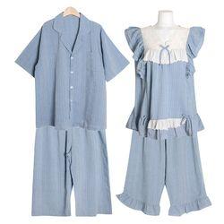 [쿠비카]레이온 블루마레 투피스 커플잠옷 WM338