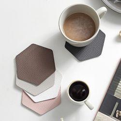 푸코 인조가죽 헥사곤 컵받침 코스터 4개세트(5colors)