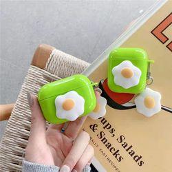 에어팟1/2/프로 슬림 계란후라이 실리콘 키링 케이스