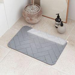 헤링본 디자인 3D 음각 규조토 발매트 발닦개 욕실 화장실 L