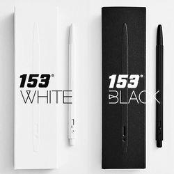 각인)모나미 153 블랙 화이트 메탈 볼펜 0.7mm