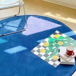 블루포인트 원형 사계절 거실 바닥 물세탁가능 러그 100cm