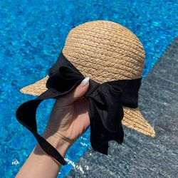 밀짚 백리본 모자