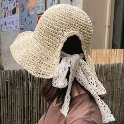 미릴 여성 여름 쉬폰리본 라피아햇 벙거지 라탄모자