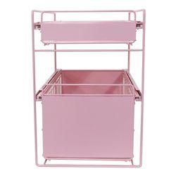 다용도 2단 슬라이딩 수납 정리대 (와이드형) 핑크