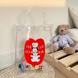 헬로곰 귀여운 PVC 곰돌이 투명 가방 비치 숄더백