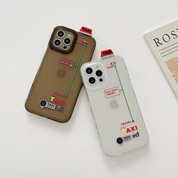 아이폰12 11 XR SE2 X 입체택시 반투명 실리콘 케이스