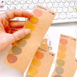 18x15mm 하트 크라프트지 스티커 (14 Cut Sticker) 4매