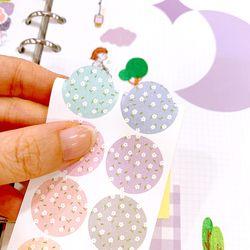 18x18mm 원형 플라워패턴 컬러칩 스티커 (12 Cut Sticker) 4매