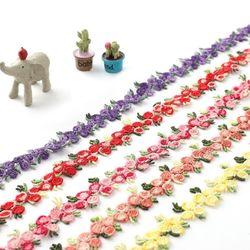 꽃자수리본(1마)리본공예재료꾸미기꽃모양끈플라워