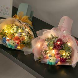 LED해피플라워비누꽃다발 30cmP 조화 꽃바구니 FMBBFT
