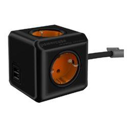 천하 파워큐브 컬러 멀티탭 2.0 USB 1.5m  블랙오렌지