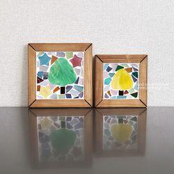 유리조각 컵받침만들기-나무(대)