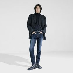 #0083B Dude blue washed crop jeans (un cutting)(ITEM2753QQH)