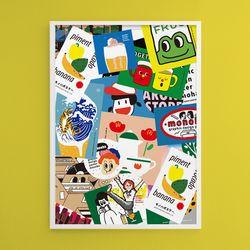 모노하 콜라주2 M 유니크 인테리어 디자인 포스터 A3(중형)