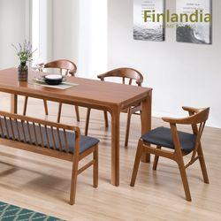 핀란디아 카라벨 6인 원목식탁세트(의자3+벤치1)