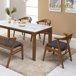 핀란디아 카라벨 원목통세라믹 6인 식탁세트(의자3+벤치1)