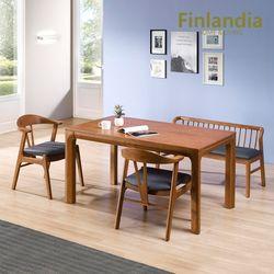핀란디아 카라벨 4인 원목식탁세트(의자2+벤치1)