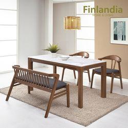 핀란디아 카라벨 원목통세라믹 4인 식탁세트(의자2+벤치1)