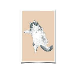 고양이 엽서 베이지