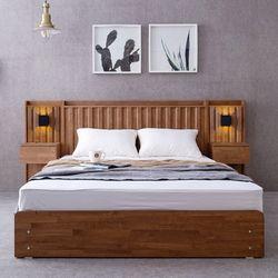 멜라 고무나무원목 서랍형 퀸 침대+협탁2개