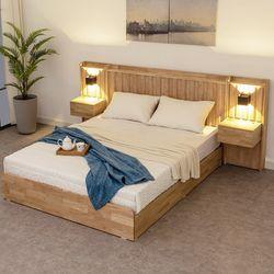 멜라 고무나무원목 서랍형 슈퍼싱글 침대+협탁2개
