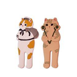 고양이 자석 후크 마스크 걸이 2개 세트 - 마린밀리터리
