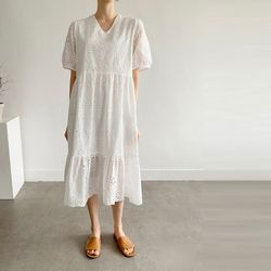 White Lace V-Neck Puff Dress